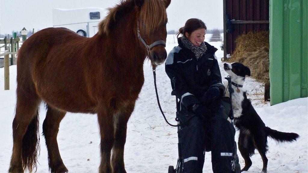 Reiten trotz Querschnittslähmung: Corinne sitzt auf ihrem Rollator, neben ihr stehen ihr Islandpferd und ihr Hund