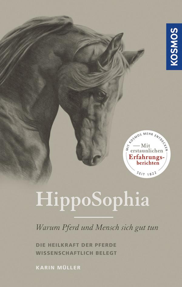 Buchcover von Karin Müller: HippoSophia - Warum Pferd und Mensch sich gut tun. Graues Covere mit Pferdekopf