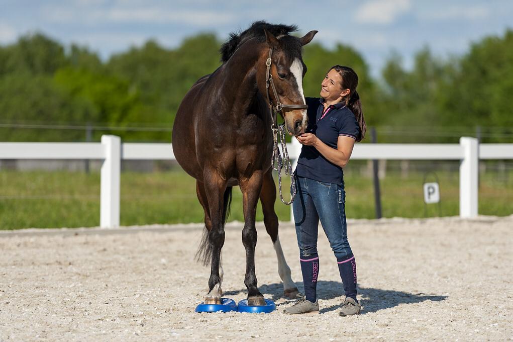 Sibylle Lemke bei ihrer Arbeit als Pferdetherapeutin